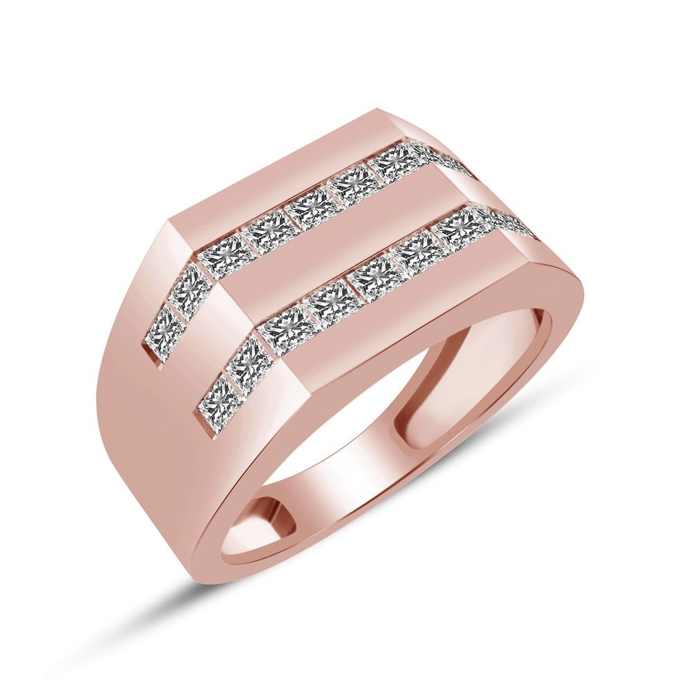 Details about Rose Gold Finish 925 Sterling Silver Princess Cut ...