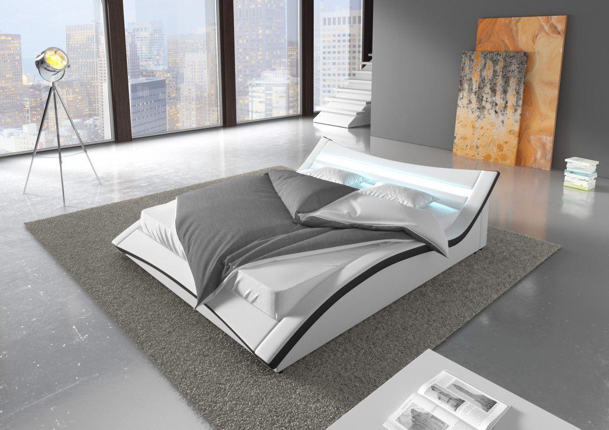 Chambre - Lit 160x200 cm design en similicuir et éclairage LED ...
