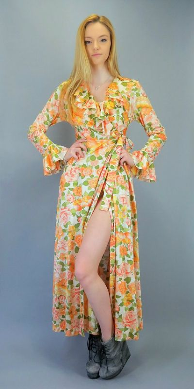 ab3368cd40 Vintage 60s 70s Vanity Fair Long Maxi Wrap Robe Dressing Gown Hostess Dress  Orange Pink Green Floral Rose Print Nylon Boho Ruffle Neckline Collar Bell  ...