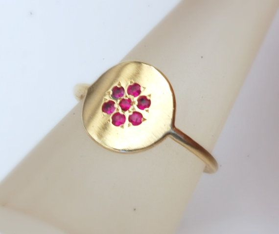 Gold ring. woman delicate gold ring with rubies. love by shmukies, $230.00