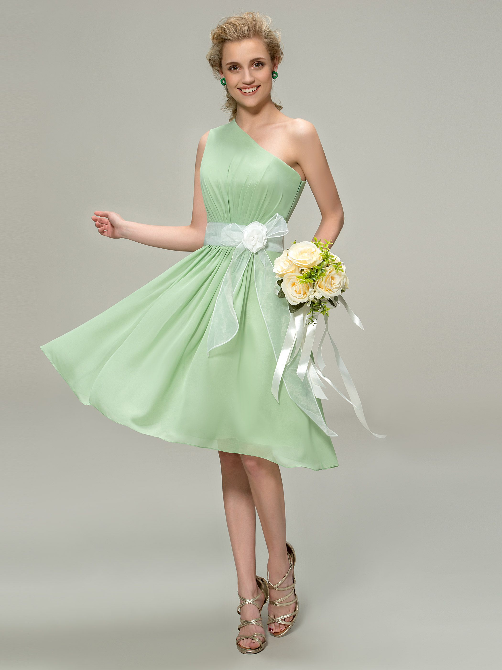 Green dress one shoulder  modabridal SUPPLIES Tailor made Wedding Party Pear Glamorous
