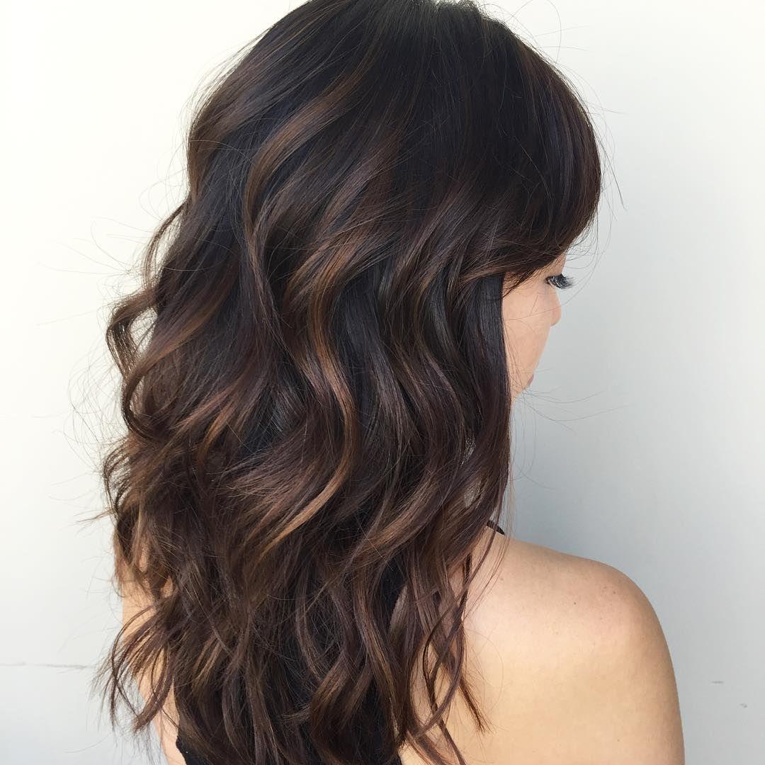 Cool 65 Phenomenal Dark Hair With Highlights Flattering Streaks For Your Dark Mane Dark Hair With Highlights Hair Highlights Brown Hair With Highlights