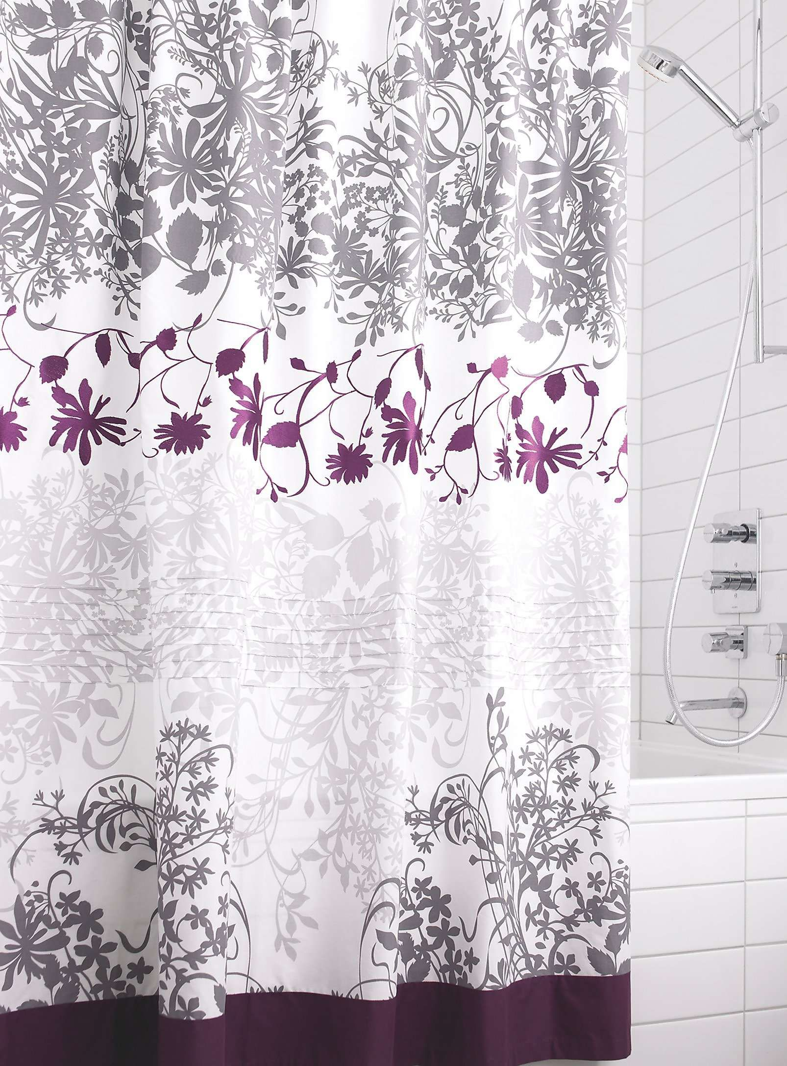 pink grey shower curtain. Embroidered floral vine shower curtain  Shower Curtains Simons I want this