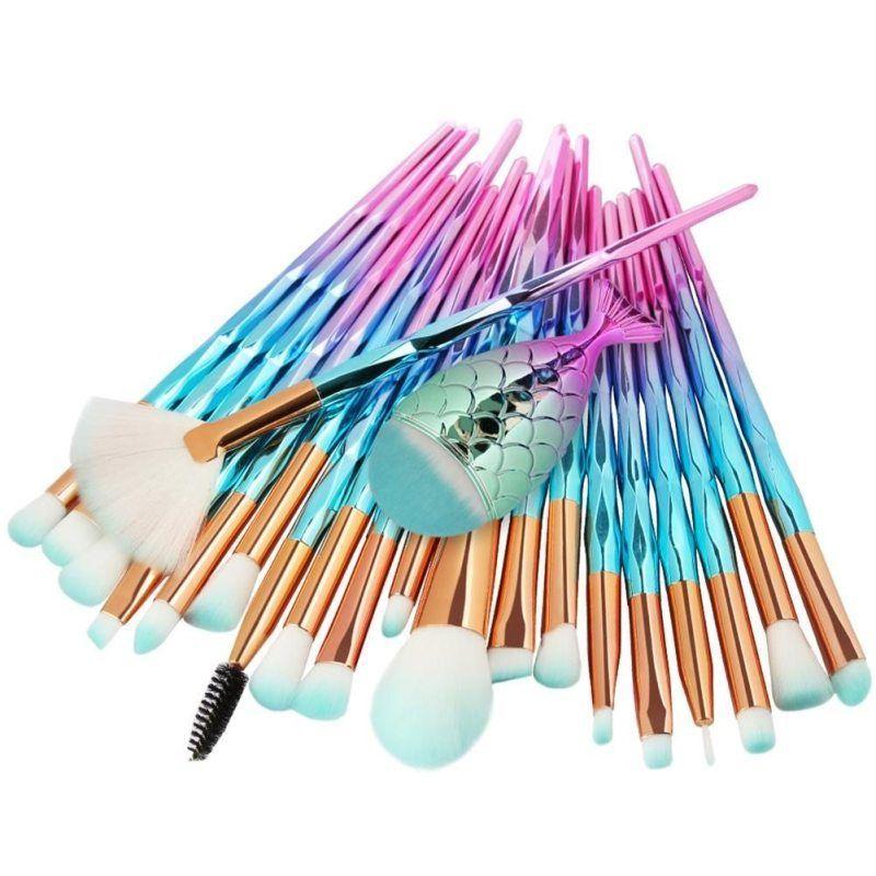21PCS Pro Mermaid Makeup Brushes Foundation Eyebrow Eyeliner Blush Powder Cosmetic Concealer Profes