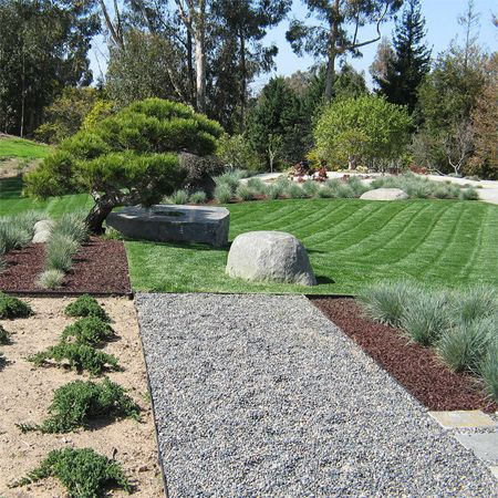 low maintenance garden replace lawn turn with gravel beds On low maintenance garden path