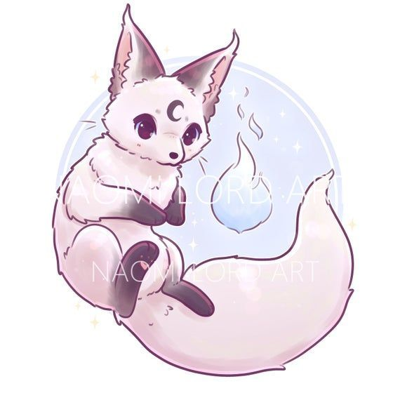 Kawaii Yin and Yang Foxes Stickers and/ or Prints 6x6 8x8, #6x6 #8x8 #cutedrawing #Foxes #...