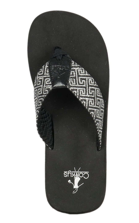9a81b7ab3fa98f Corky s Star Women s Black   Silver Geometric Print Flip Flops ...