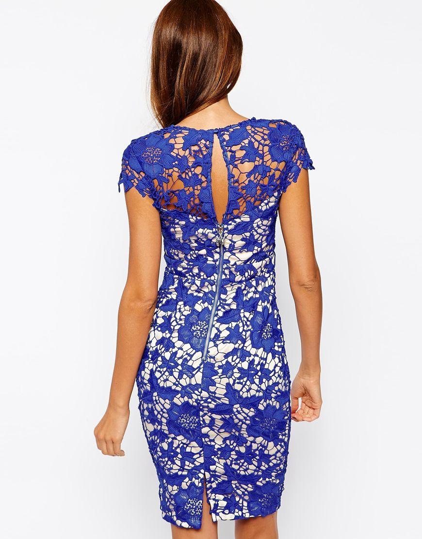 Vestido encaje Crochet -azul, por detrás. | Moda | Pinterest | Azul ...