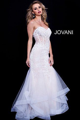 off white beaded strapless sweetheart neck prom dress