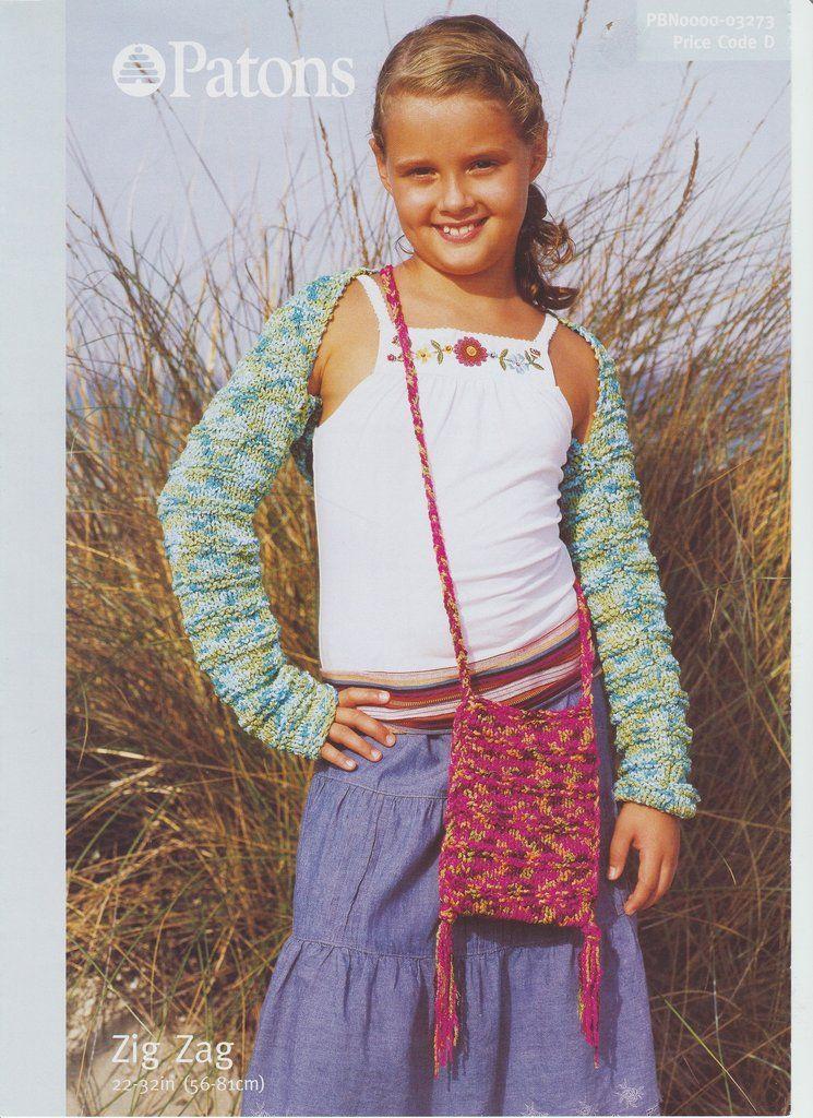 Knitting Pattern Leaflet Patons 3273 DK Kids Shrug & Bag ...