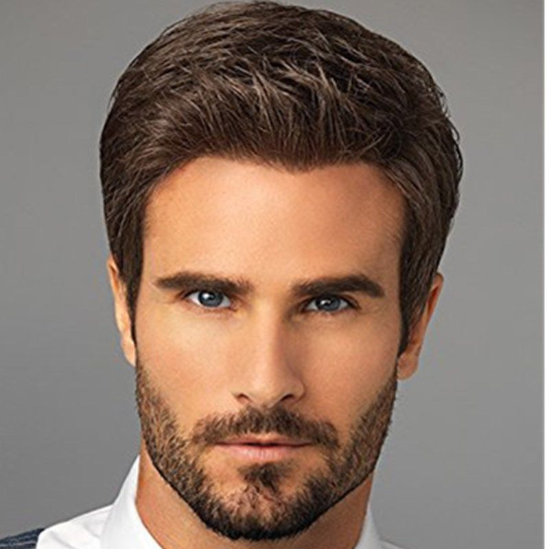 The Man Full Top Wig Short Straight Hair Brown Fluffy Natural Handsome Wig Wilshire Wigs Mens Hairstyles Hair Styles