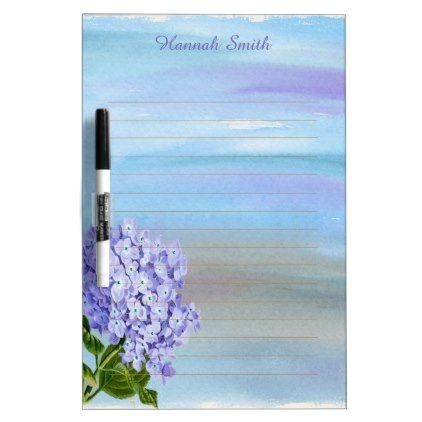 Personalized Purple Hydrangea Watercolor Dry Erase Board - floral style flower flowers stylish diy personalize