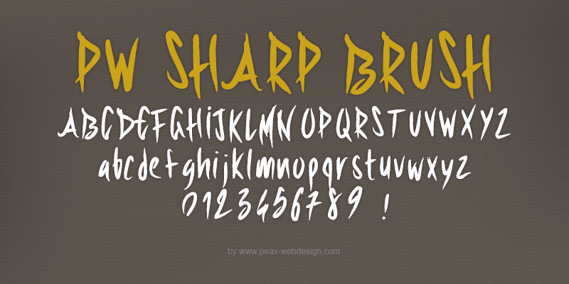 New free font 'PWSharpBrush' by Peax Webdesign · Free for personal use · #freefont #font #freefont