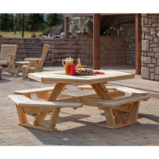 Amish Pine Octagon Picnic Table Picnic Table Octagon Picnic