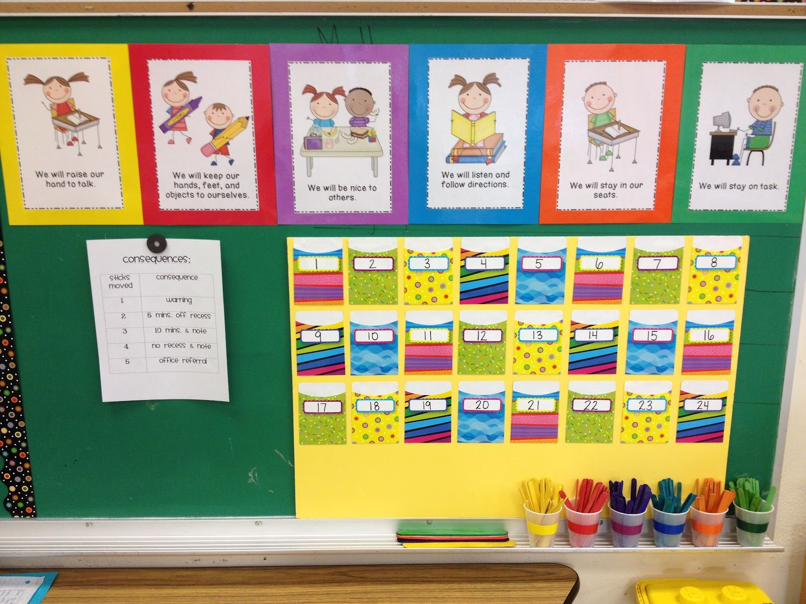 Behavior Calendar Kindergarten : Love the color coded stick system to help students