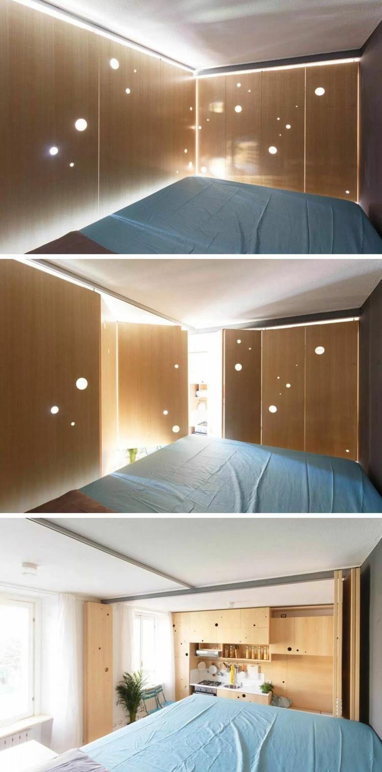 Beleuchtung für das Schlafzimmer mit Aussicht auf der Küche   Bett ...