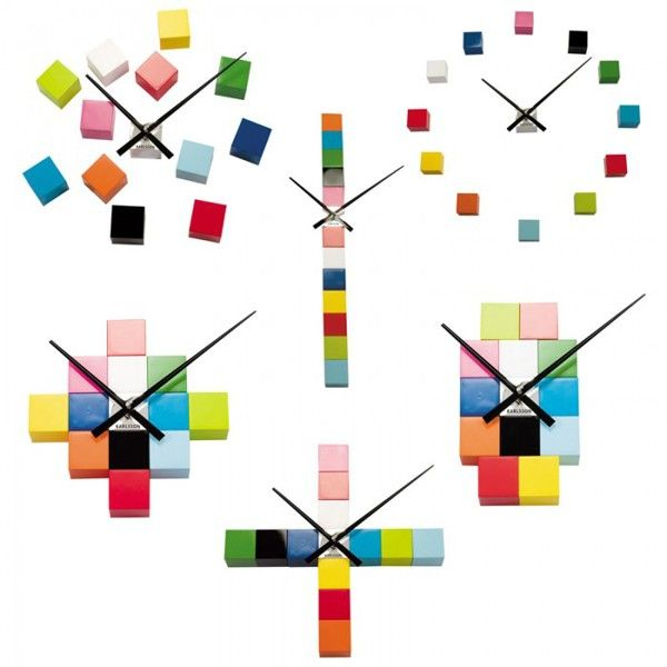 Do It Yourself Cubic Clock Multi Colour Wall Clock by Karlsson