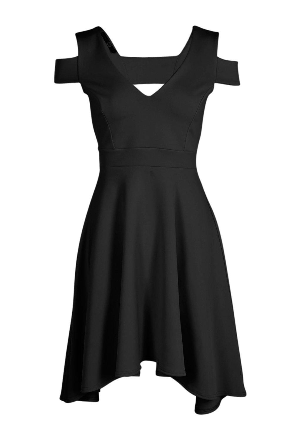 Clea bardot plunge high low skater dress bardot high low and boohoo