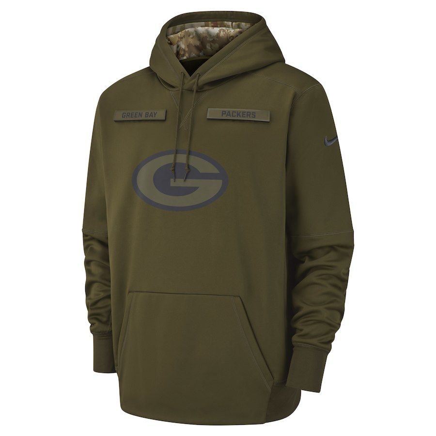 Green Bay Packers Nike Salute To Service Sideline Therma Performance Pullover Hoodie Olive Performance Hoodie Hoodies Salute To Service