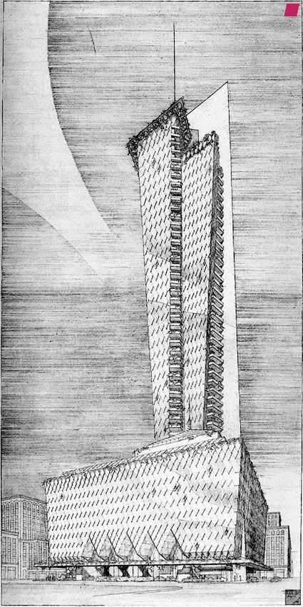 Frank Lloyd Wrights Sketch For The Never Constructed Rogers