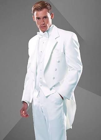 New Style White Tailcoat Groom Tuxedos Notch Lapel Groomsmen Man ...