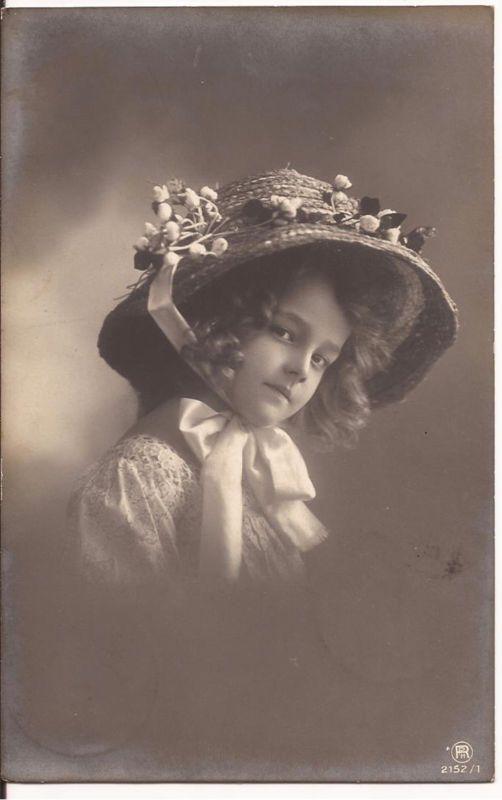 Vintage RPPC Photo Postcard 1909 Beautiful Edwardian Girl Flowers Hat Lace Grete | eBay