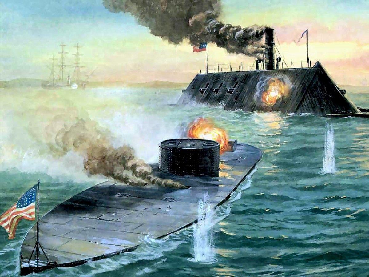 "/""Congress Burning/"" Tom Freeman Civil War Print Frigate USS Congress 1862"