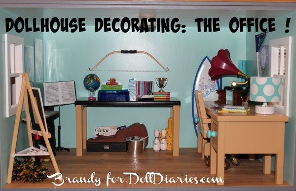 When my daughters' and I designed their dollhouse, we wanted one room designated for the love of music, art, reading, writing, dance, and sports. We came to the conclusion that this would be the d…