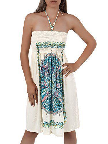 H112 Damen Sommer Aztec Bandeau Bunt Tuch Kleid Tuchkleid ...