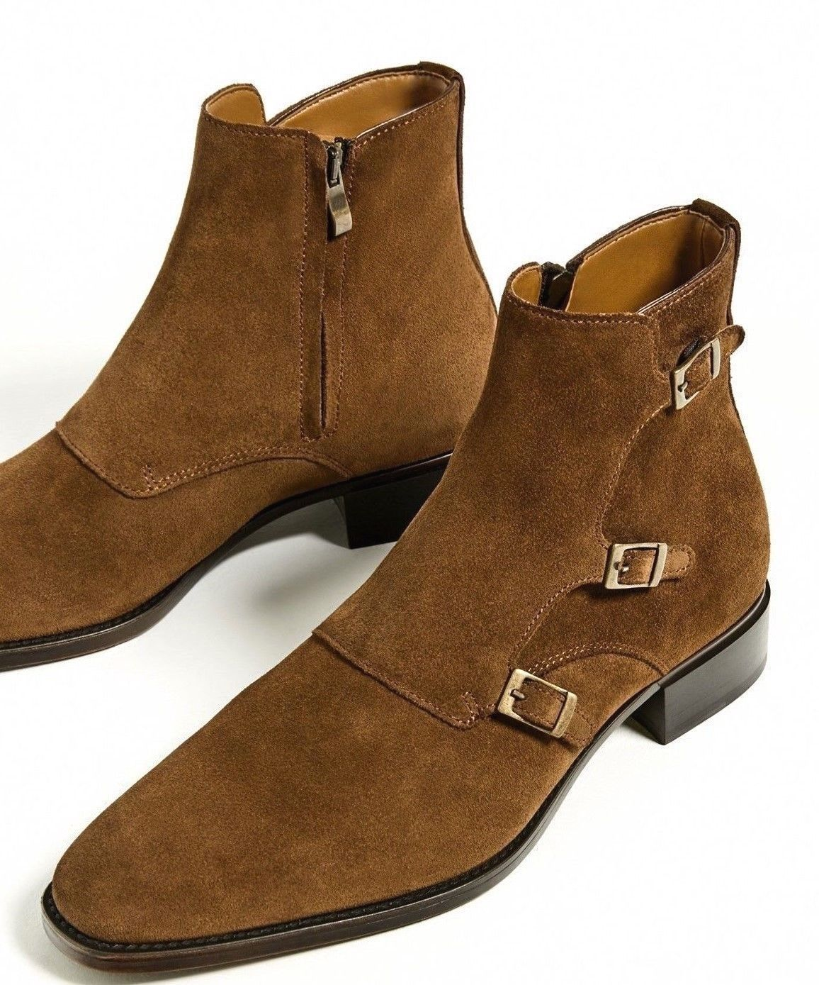 d00387ff43d Handmade Men suede Leather Boots Mens Brown Three Buckle Fashion Ankle High  Boot
