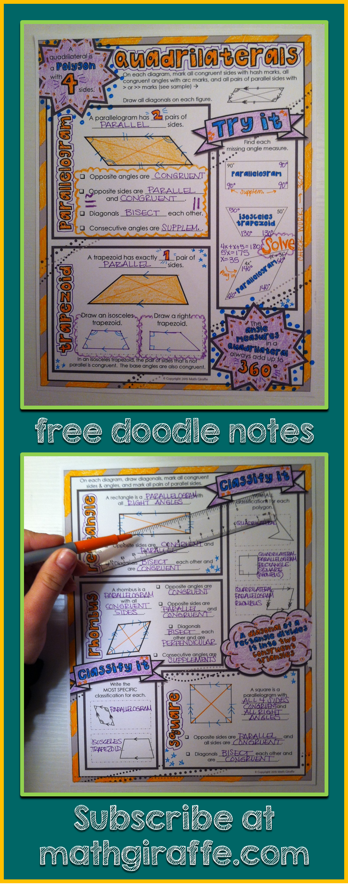 Quadrilaterals - Classifications & Properties Free Doodle