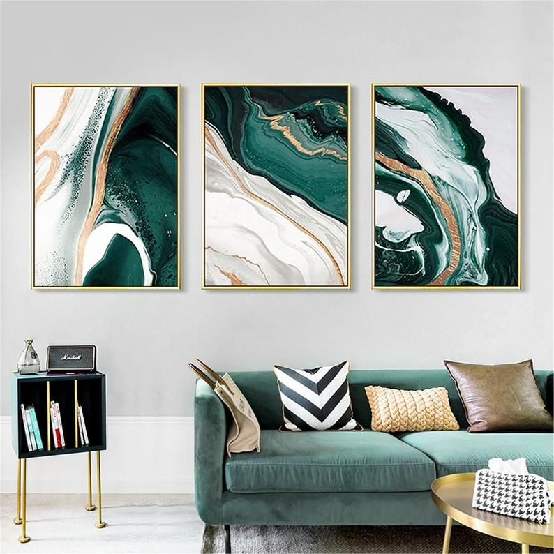 Modern Abstract Gold Foil Lines Green Canvas Art Paintings For Etsy Green Canvas Art Living Room Paint Canvas Wall Art Beautiful canvas for living room