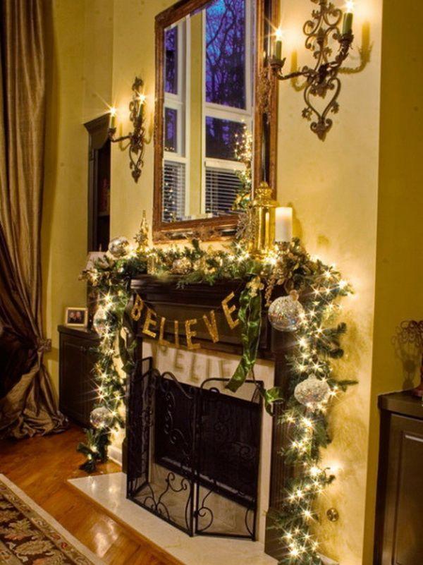 best holiday mantel ideas Christmas Fireplace Mantel Decorating