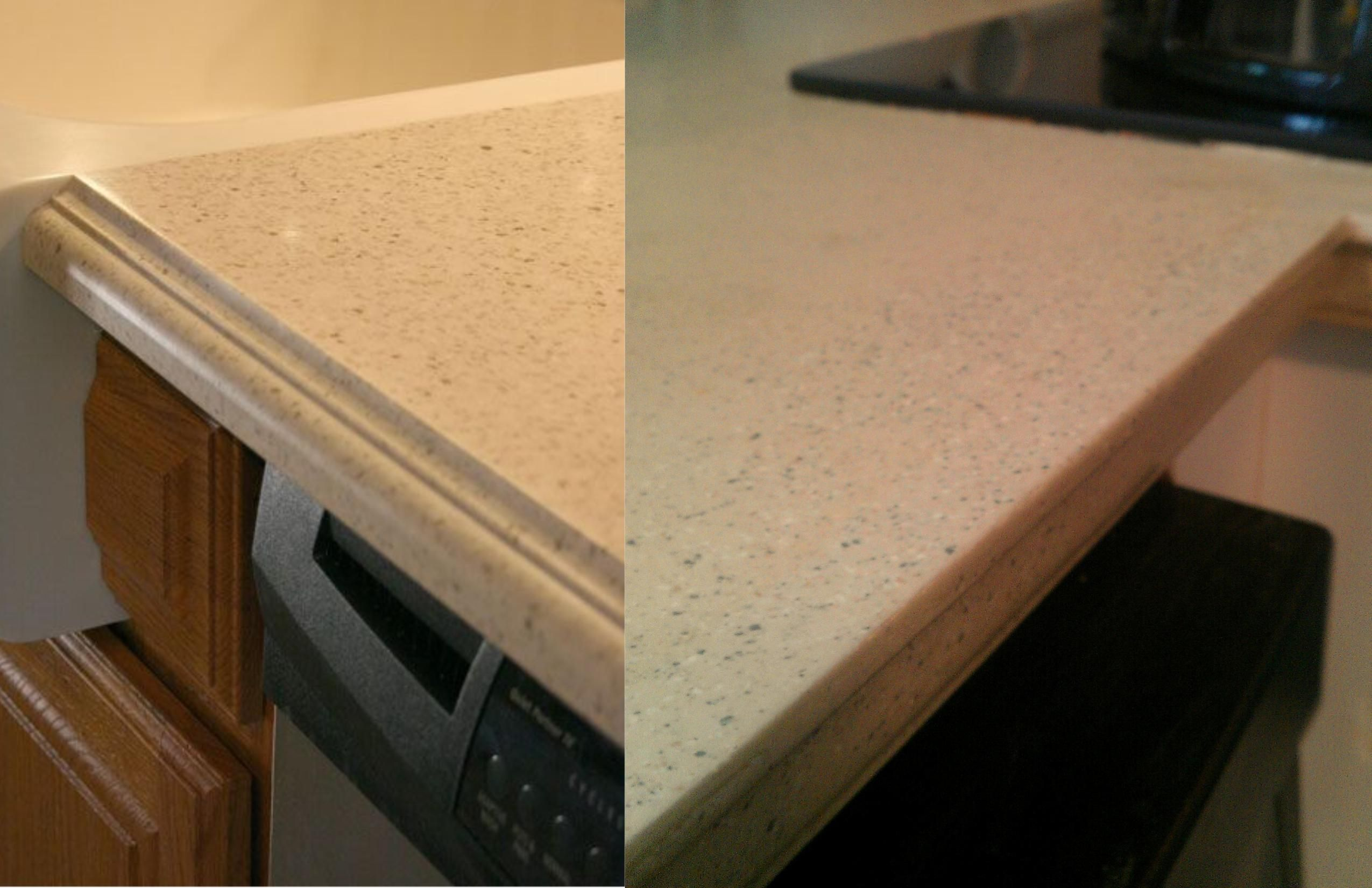 Good One Of These Countertops Is Corian, The Other Is Daich Coatings Countertop  Refinishing