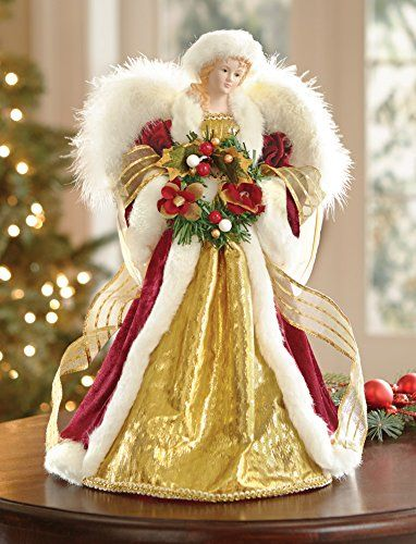 Christmas Winter Angel Tabletop Tree Topper Decoration  - Christmas Tree Angel Toppers