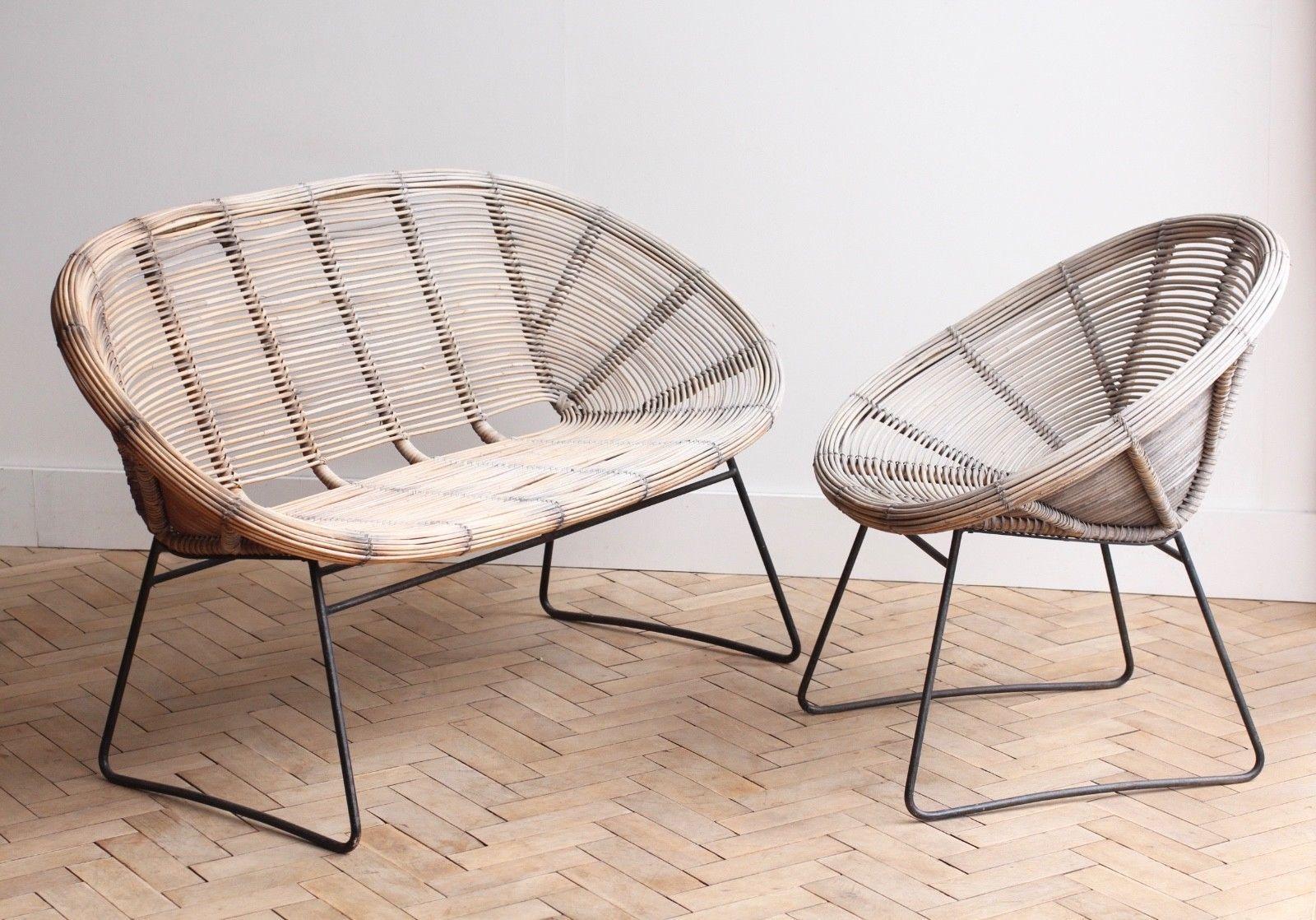 Vintage Retro Garden Cane Wicker Bench And Chair Set Mid Century Chair Grey Garden Furniture Vintage Chairs