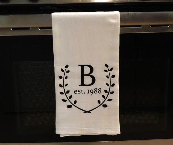 similar to Initial Tea Towel Monogram Tea Towel Personalized Tea Towel Wedding Gift Cus Items similar to Initial Tea Towel Monogram Tea Towel Personalized Tea Towel Weddi...