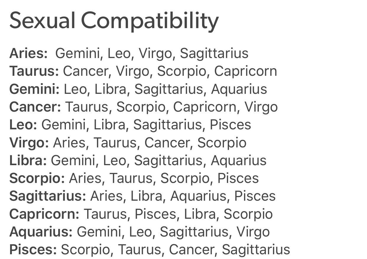 Zodiac sex sign compatibility