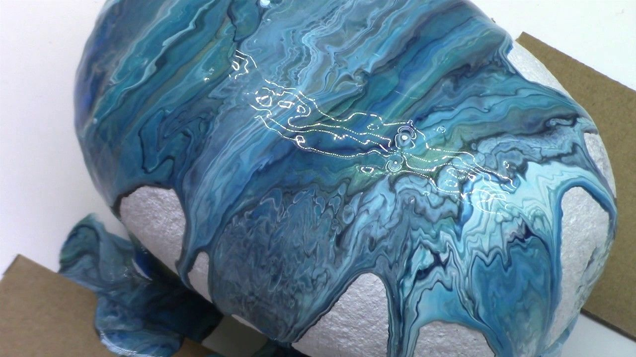 Fluid Acrylic Dirty Pouring Technique On Found River Rocks