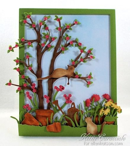 KC Susan's Garden CountryScapes I love making die cut flowers and die cut scenes. Susan Tierney-Cockburn's new CountryScapes sets gives me the opportunity to combine the two techniques to create a mini garden scene