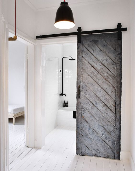 White Interior And Grey Sliding Barn Doors Looks Divinely 15 Modern For Your Inspiration Dream Home