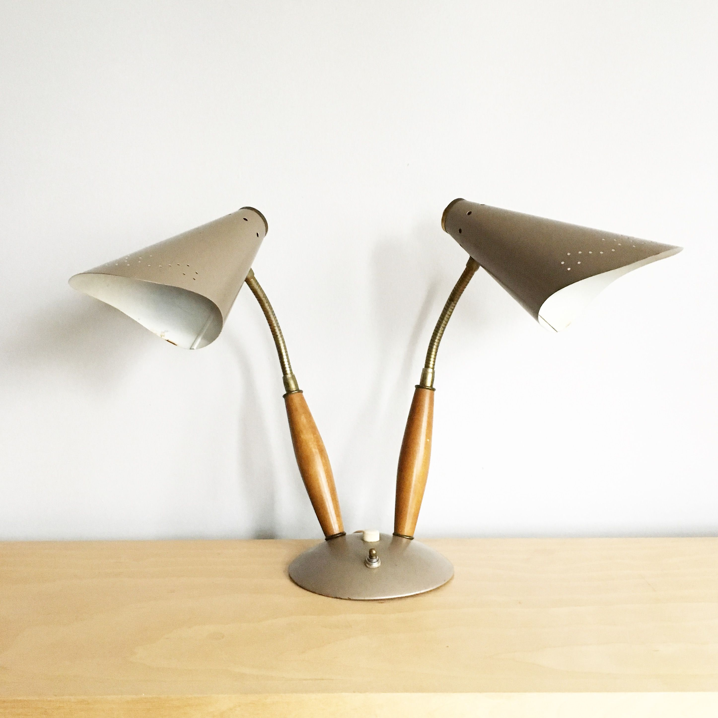 Vintage Mid Century Double Gooseneck Desk Lamp Made In Canada