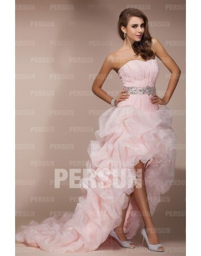 Organza Sweetheart Beaded Pick Up High Low Prom Dress ...