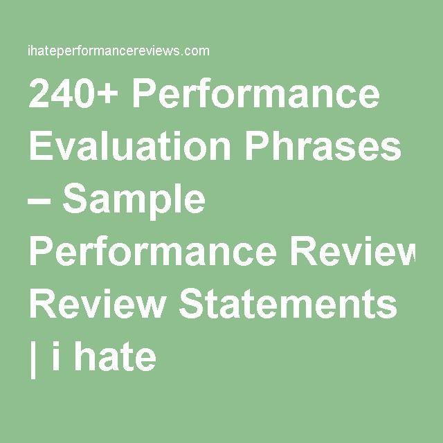 240+ Performance Evaluation Phrases u2013 Sample Performance Review - performance reviews