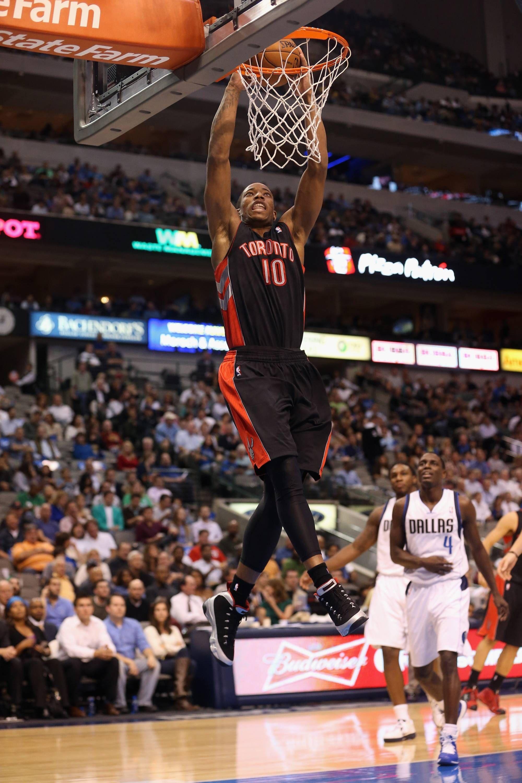 "52f0d4038605a5 DeMar DeRozan dunking in the Air Jordan 9 ""Johnny Kilroy"""