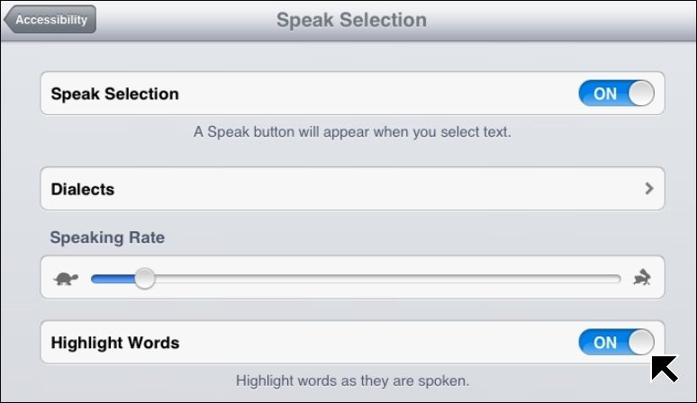 Speak Selection reads aloud any selected text on an iPad