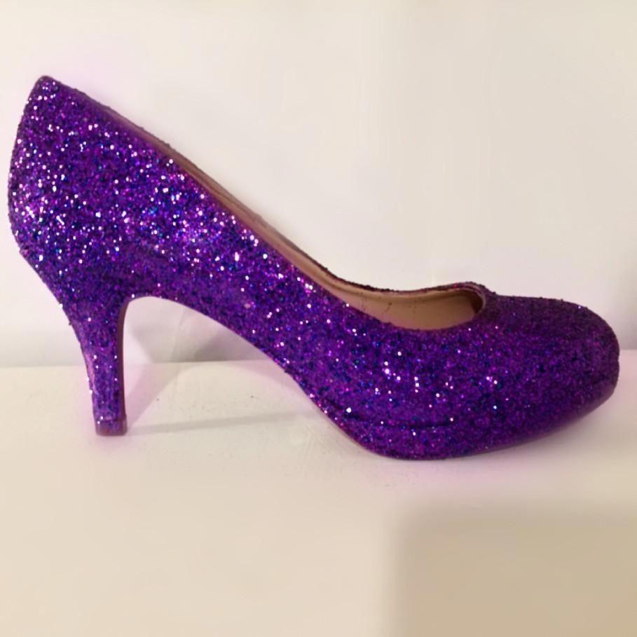 Sparkly Purple Glitter Low Heel Wedding Bride Shoes Bridal Brideshoes