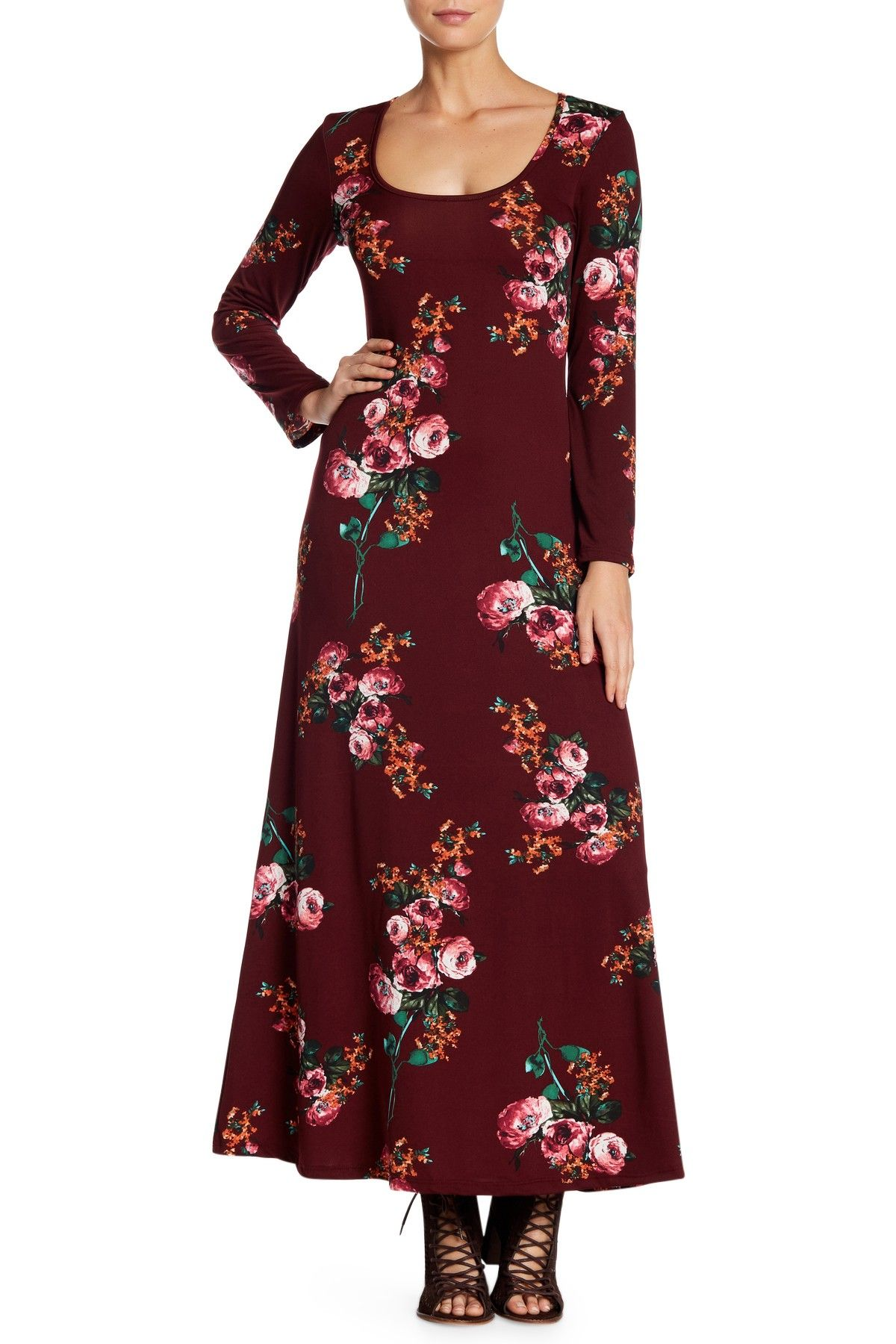 comfort floral long sleeve maxi dress plus size available