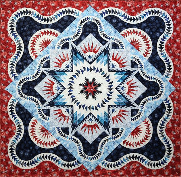 Red, white and blue Glacier Star quilt workshop. Design by Judy ... : glacier quilts - Adamdwight.com