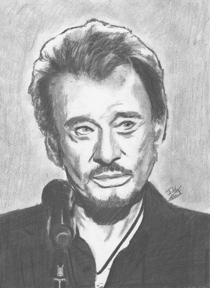 Johnny+Hallyday+par+Fantomas | Portrait dessin, Johnny ...